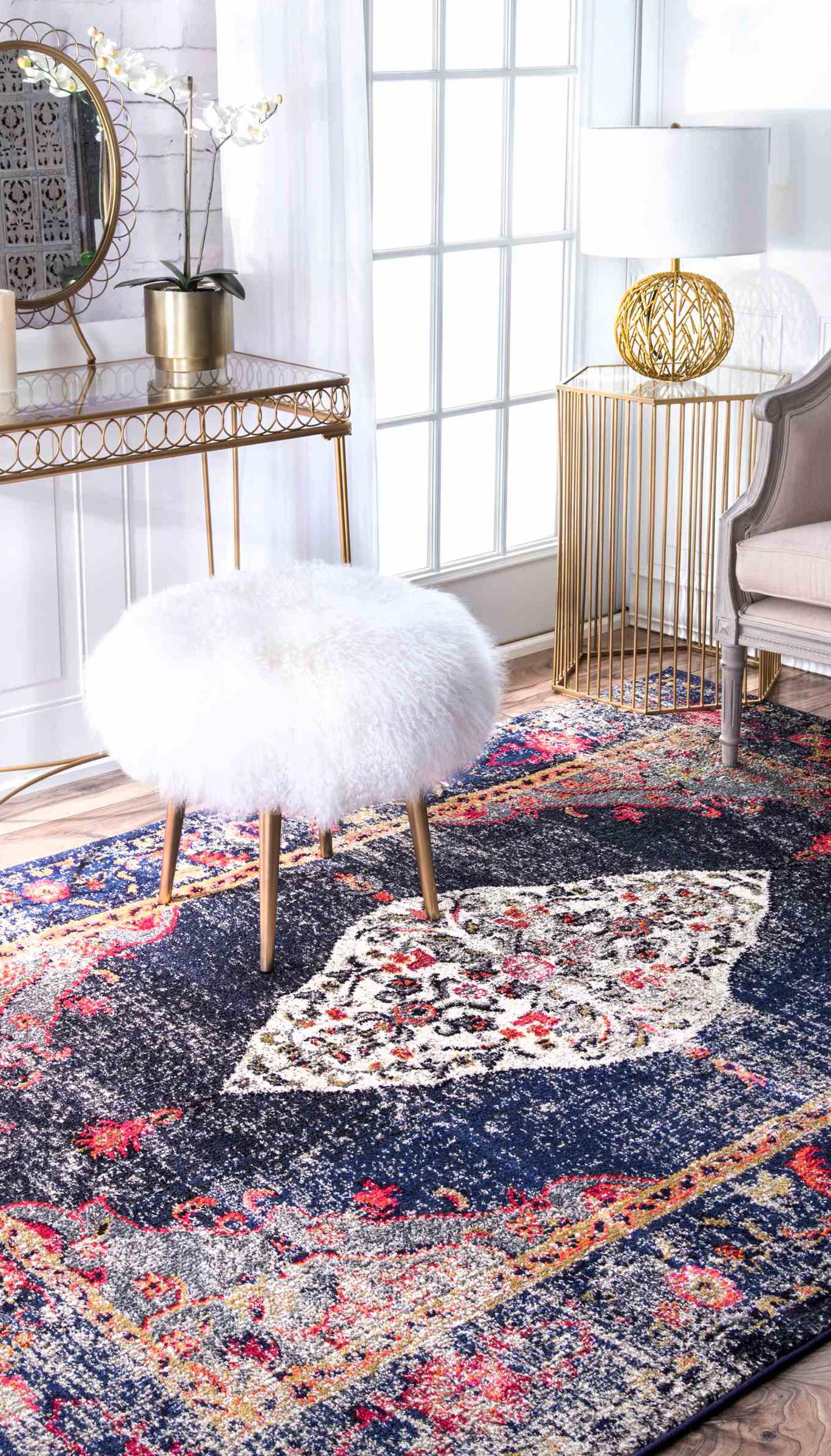 Fantastisch Vintage Style Blauer Und Roter Teppich Im Traditionellen Stil
