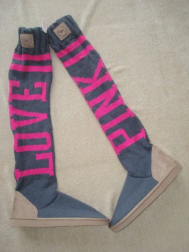 468cdf80ec New Victoria s Secret LOVE PINK Knit Sock Slouchy Slipper Boots ...