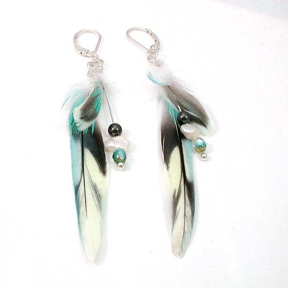 Parakeet Feather Earrings with Hematite and Freshwater Pearls- I have plenty of parrotlet feathers to do this with!
