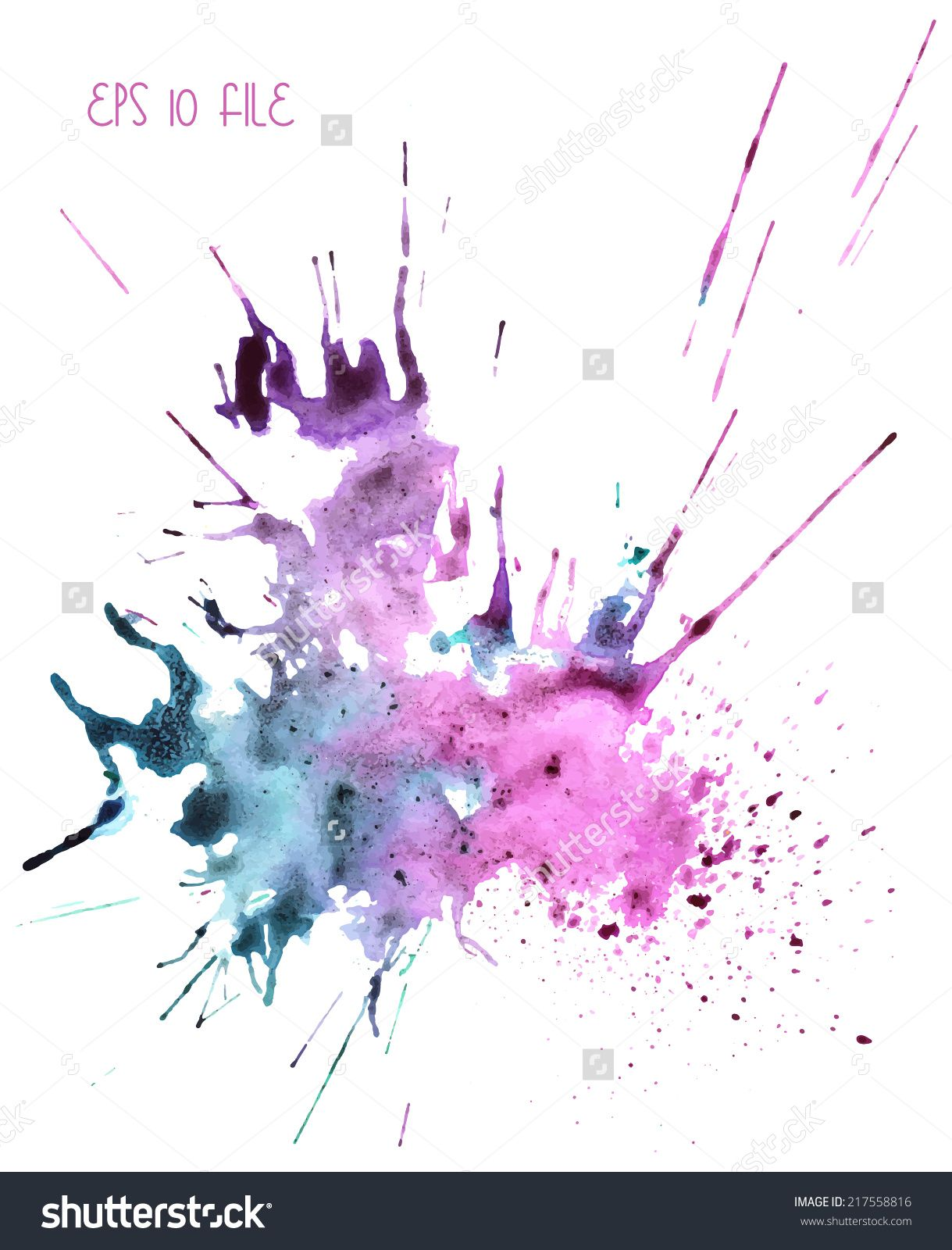 Stock Vector Beautiful Traced Vector Watercolor Splatter Stain Of