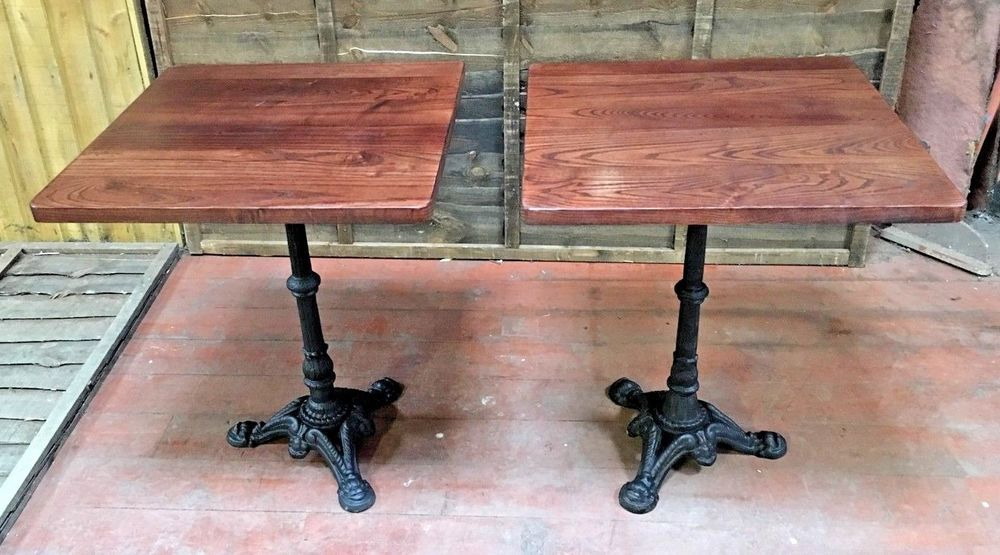 Pair Of Iron Base Wooden Table Top Refurbished Pub Tables
