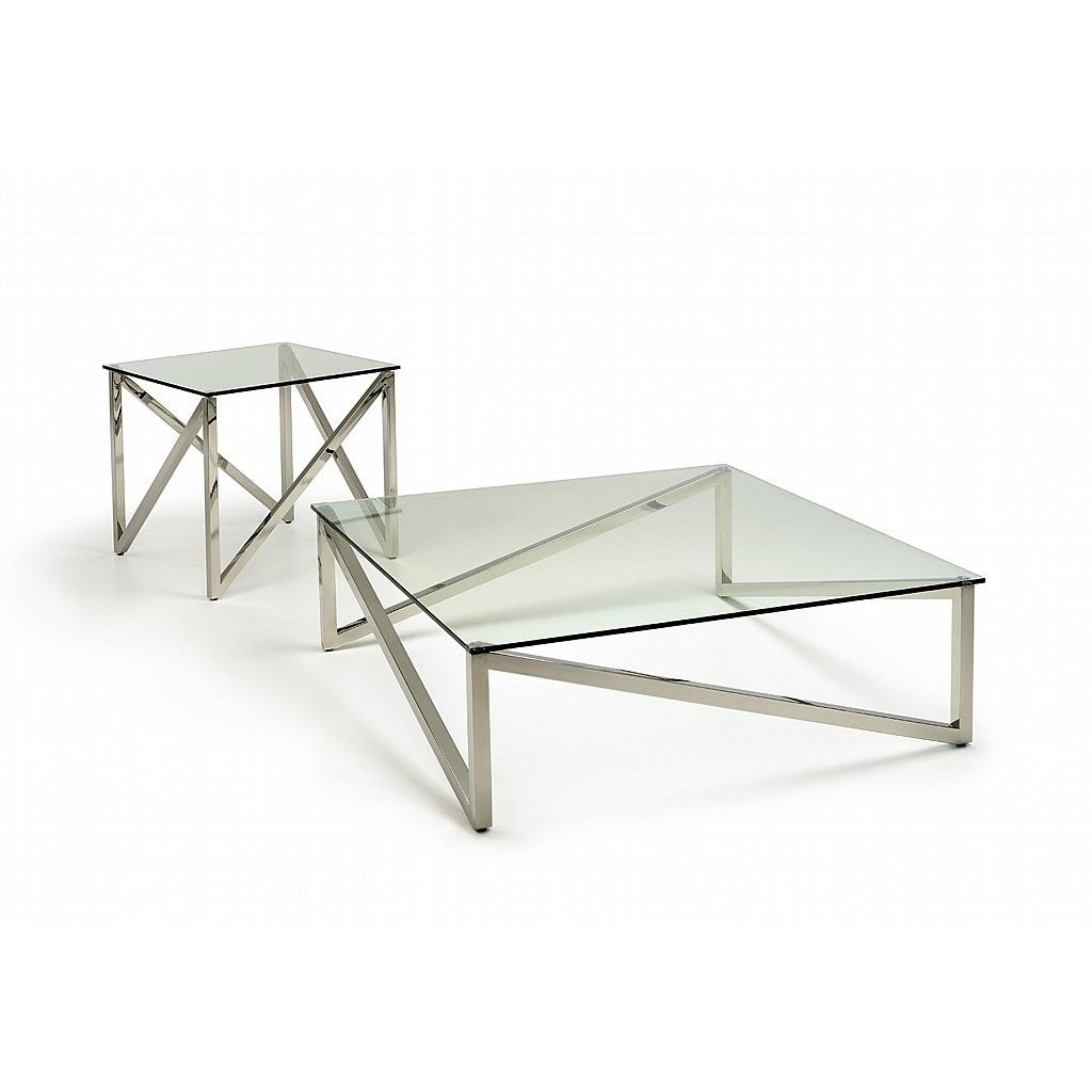 Contemporary coffee table clear glass table top and stainless steel base matching lamp table Clear coffee table