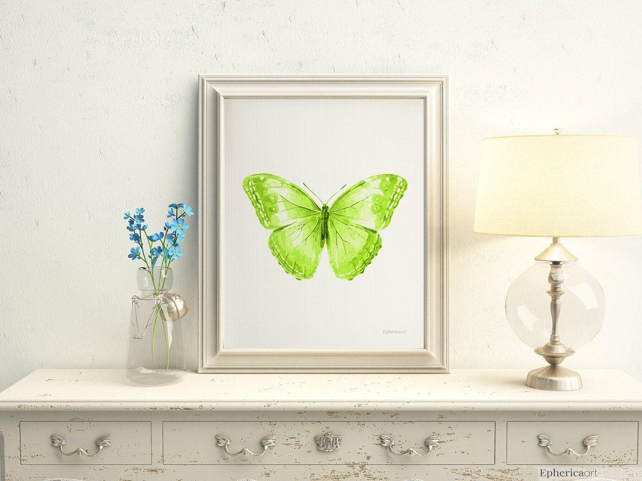 Lime Green Wall Decor nursery wall art, nursery print download, nursery decor butterfly