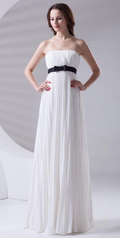 $118.99 Long Elegant White A-line Strapless Sleeveless ...
