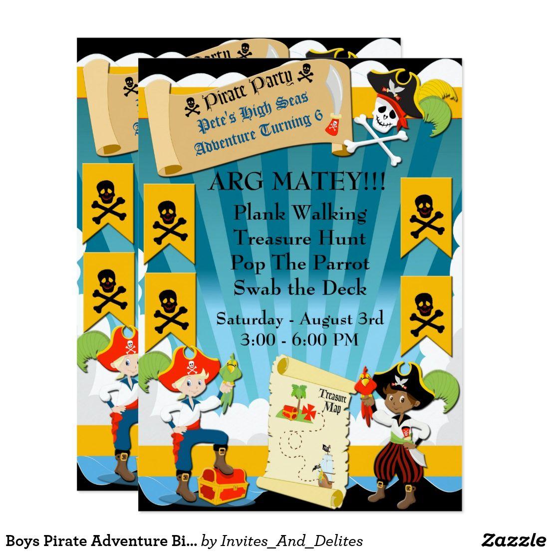 Boys pirate adventure birthday party invite pirate adventure boys pirate adventure birthday party invite stopboris Choice Image