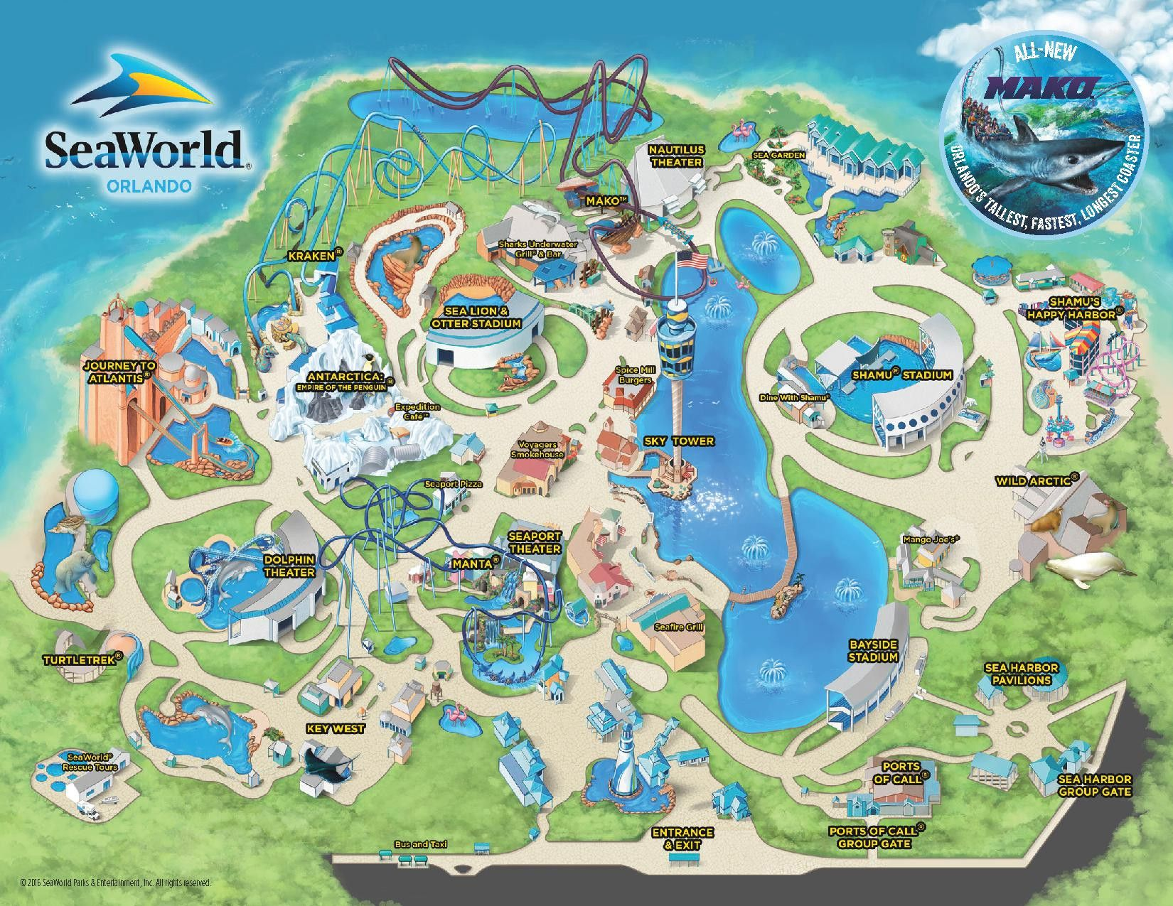 Theme Park Amp Attractions Map Seaworld Orlando Places I