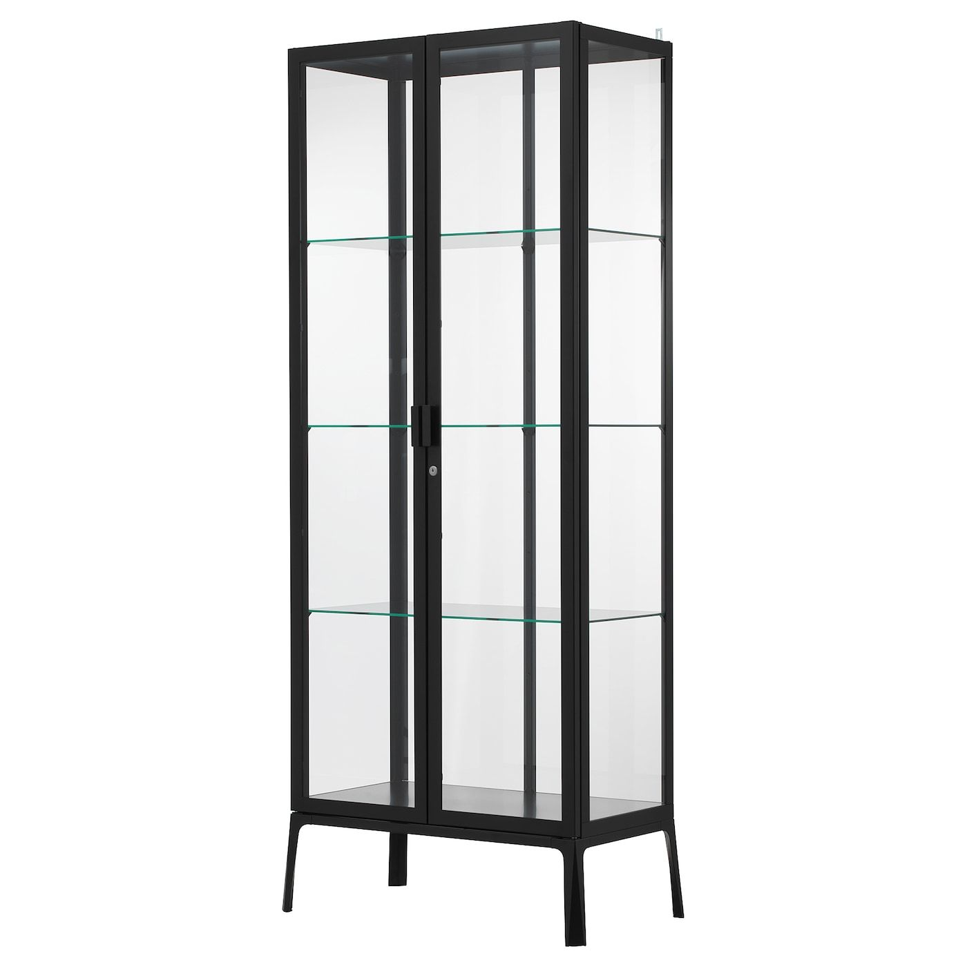 Milsbo Vitrina Antracite 73x175 Cm Ikea Glass Cabinet Doors Glass Cabinets Display Glass Shelves
