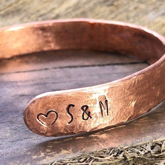 Initials Bracelet Custom For Her Him Personalized Copper Name Initial By Gardensgatejewelry
