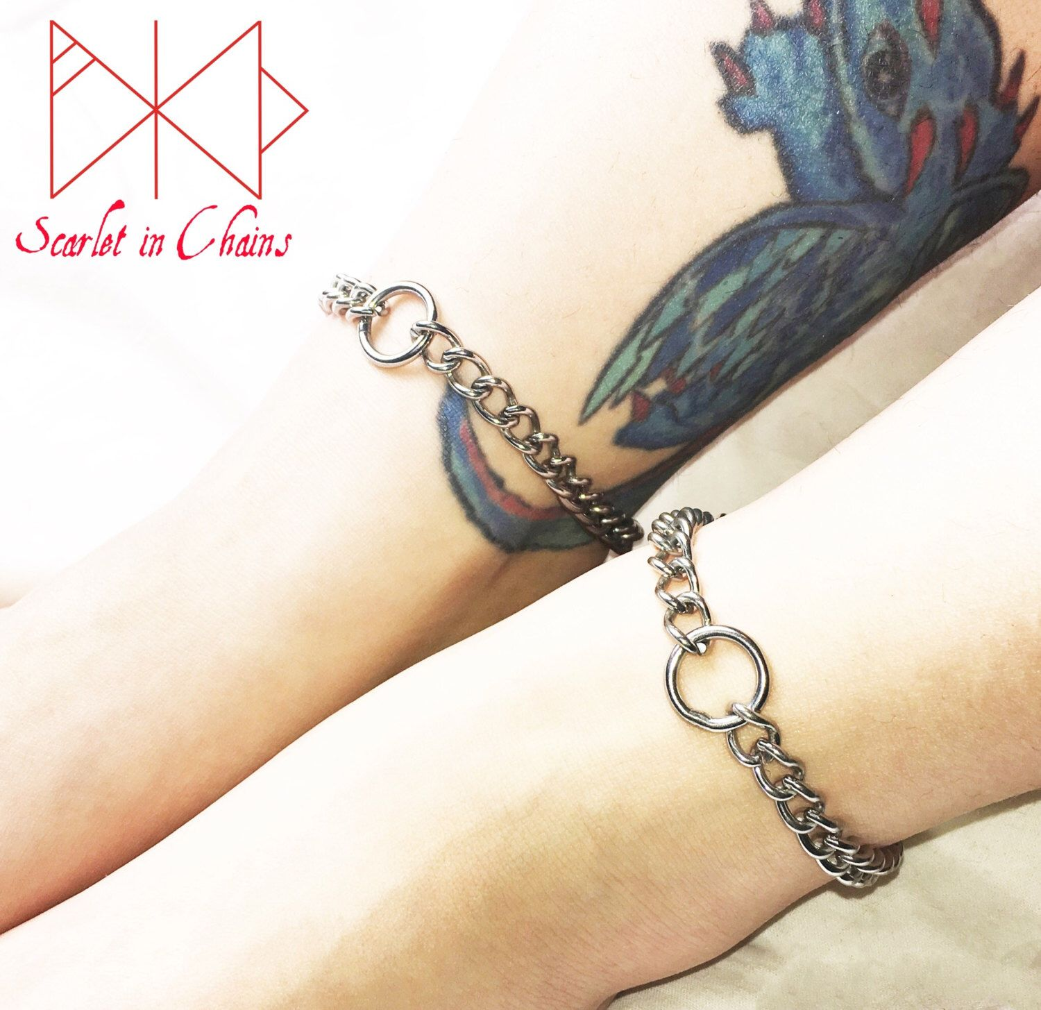 anklet slave shaped chainmaille thecagedflower with bdsm locking padlock stainless by on steel pin heart