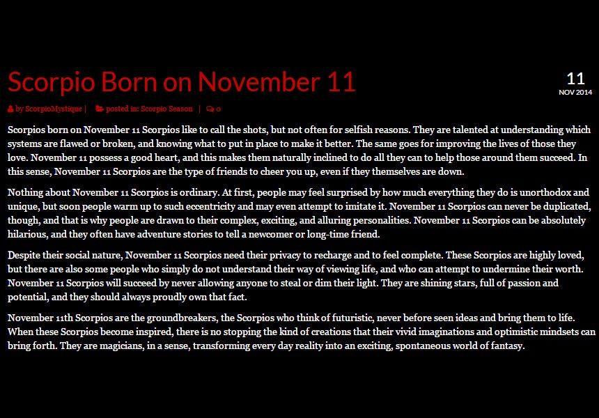 11 november birthday astrology