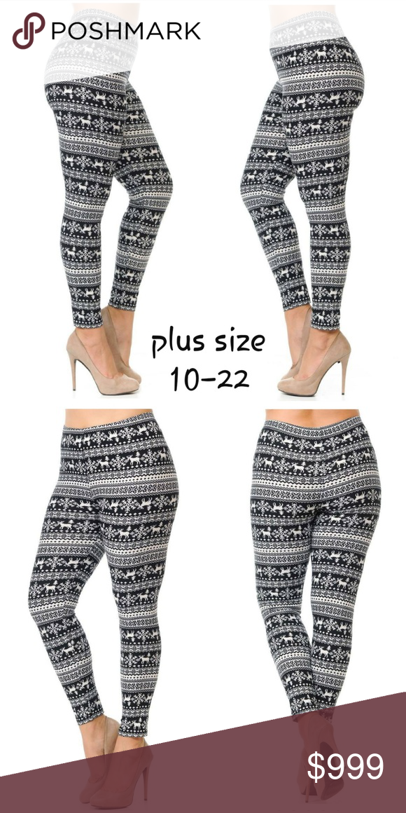 76b4d6edcb2c Plus Size Holiday Print Leggings ❄ 💕Just arrived 💕 ~ Full length premium  fitted leggings in adorable black and white snowflake reindeer print ...