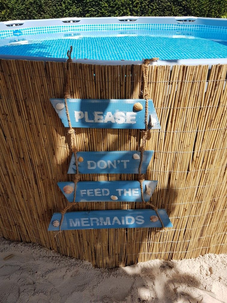 intex frame pool transformation please don 39 t feed the mermaids above ground pool mermaid sign. Black Bedroom Furniture Sets. Home Design Ideas