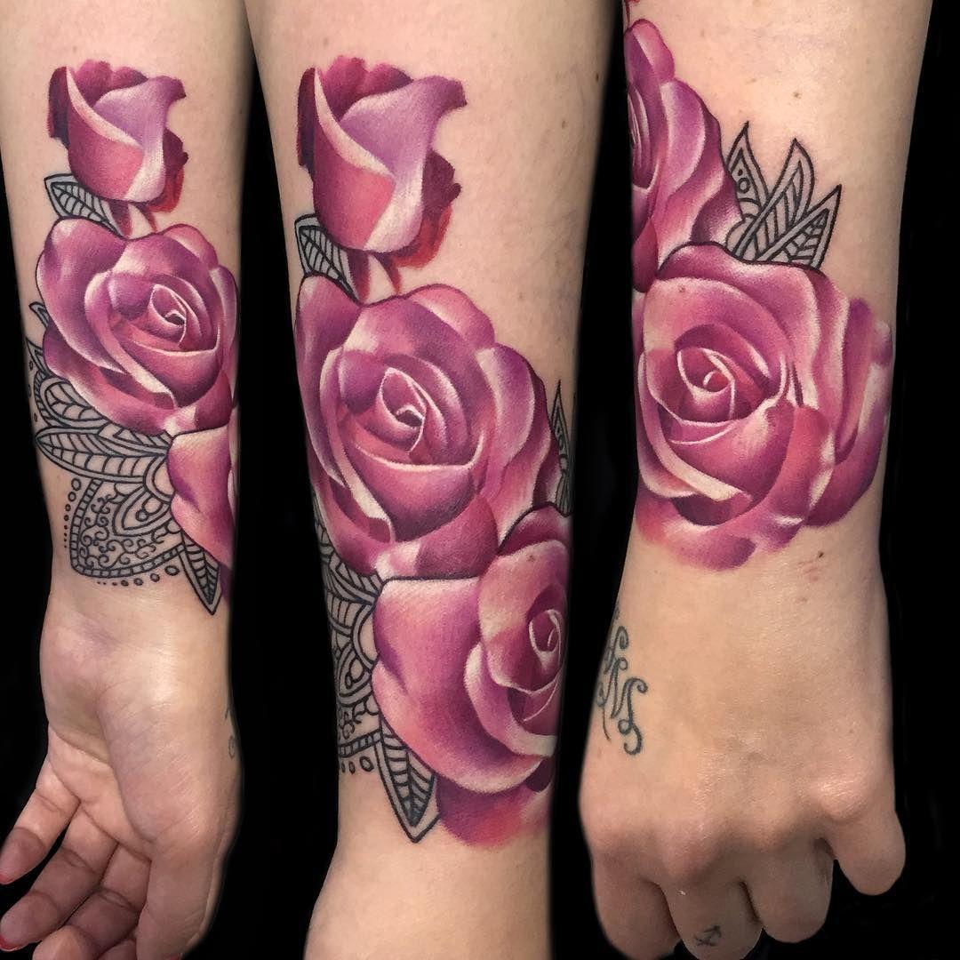 Pink-Roses-on-Wrist-by-Sebastian-Nowacki.jpg (1080×1080)