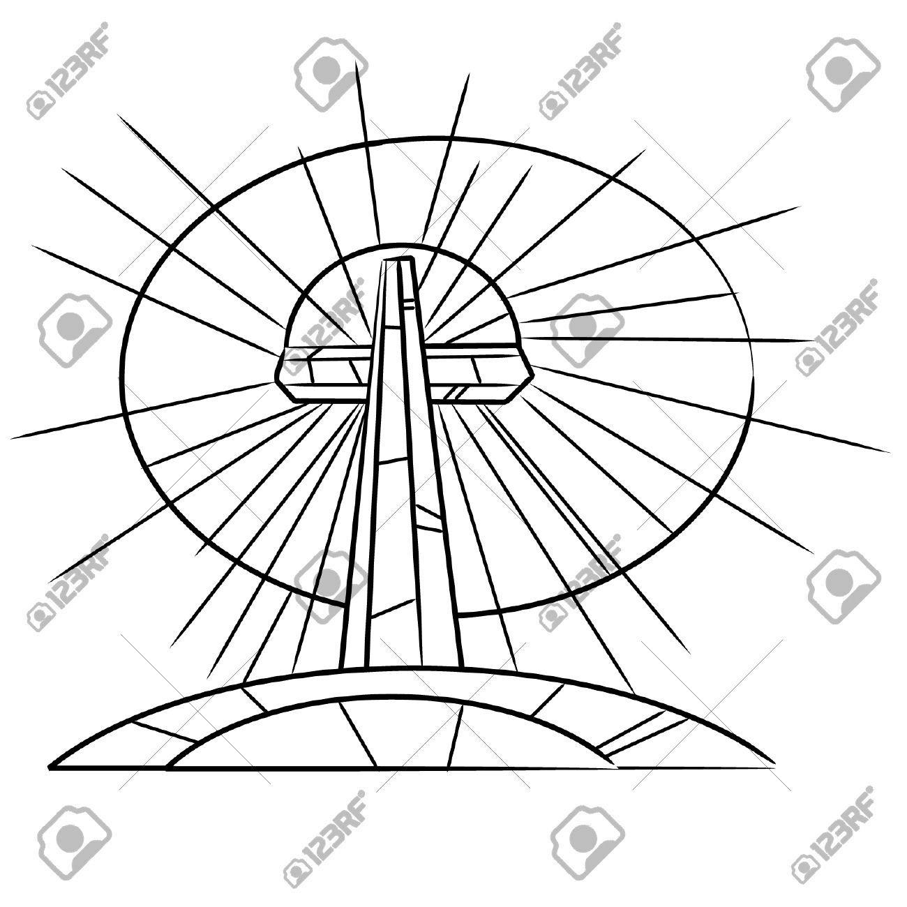 Libro Para Colorear Stained Glass Cross Pascua En Una Colina Ilustraciones Vectoriales, Clip Art Vectorizado Libre De Derechos. Image 57008176.