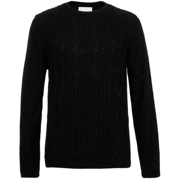 Topman Black Cable Pattern Jumper 32 Liked On Polyvore