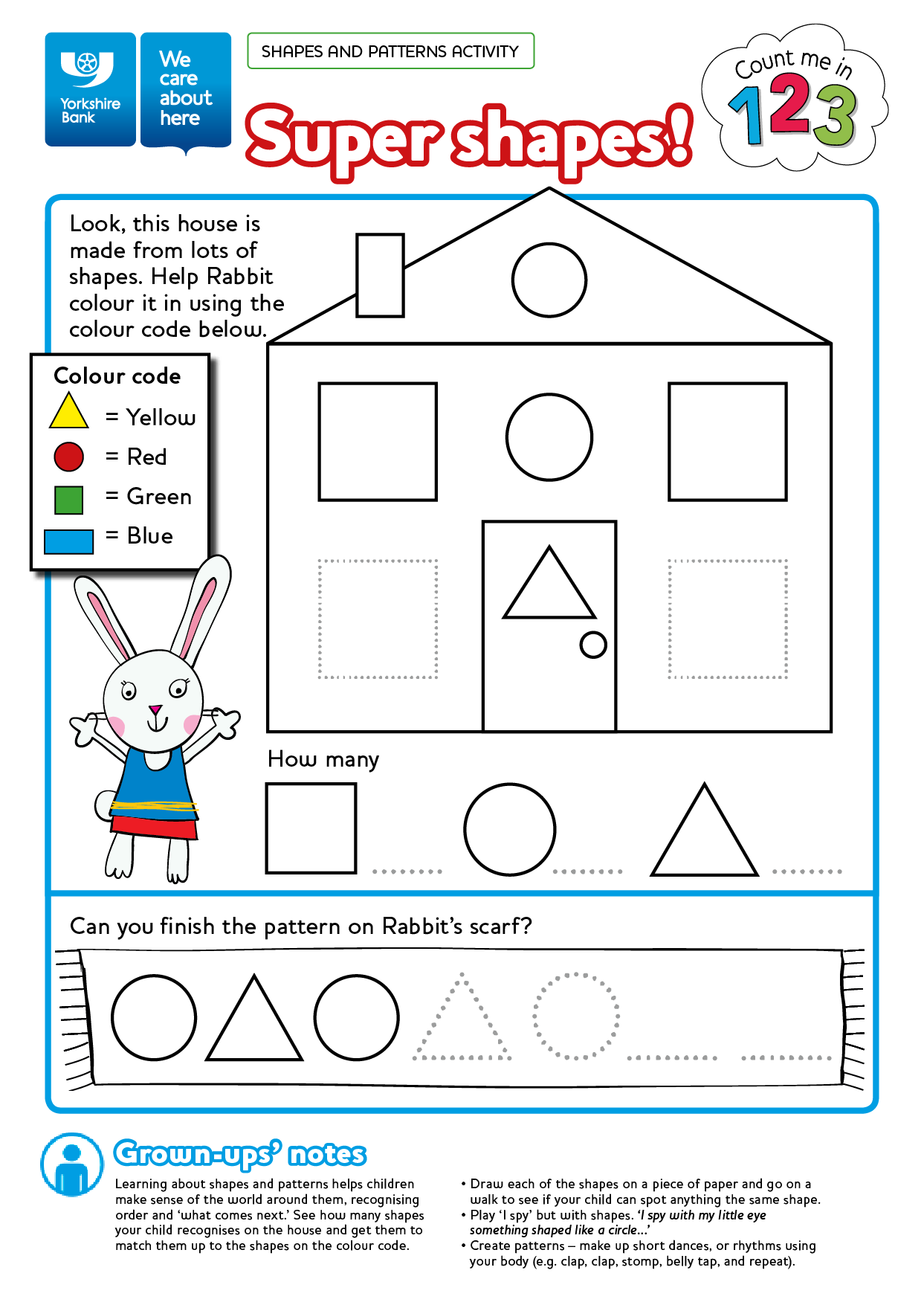 Free numeracy worksheet printable colouring in sheet Count Me In