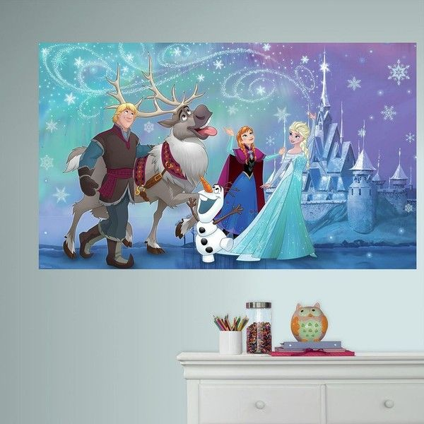 Disneyu0027s Frozen Peel u0026 Stick Mural Wall Decal by RoomMates ($38) ? liked on Polyvore featuring home home decor wall art blue peel and stick wall decals ... & Disneyu0027s Frozen Peel u0026 Stick Mural Wall Decal by RoomMates ($38 ...
