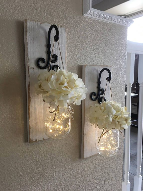 This is a beautiful set of 2 mason jar wall sconces. It includes two ...
