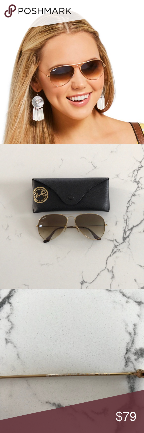 91070d8bae Ray-Ban Aviator Sunglasses - Gold Light Brown Ray-Ban RB3025-001 51 Aviator  Large Metal Sunglasses - Gold Frame Light Brown Gradient Lens - 58mm In  very ...