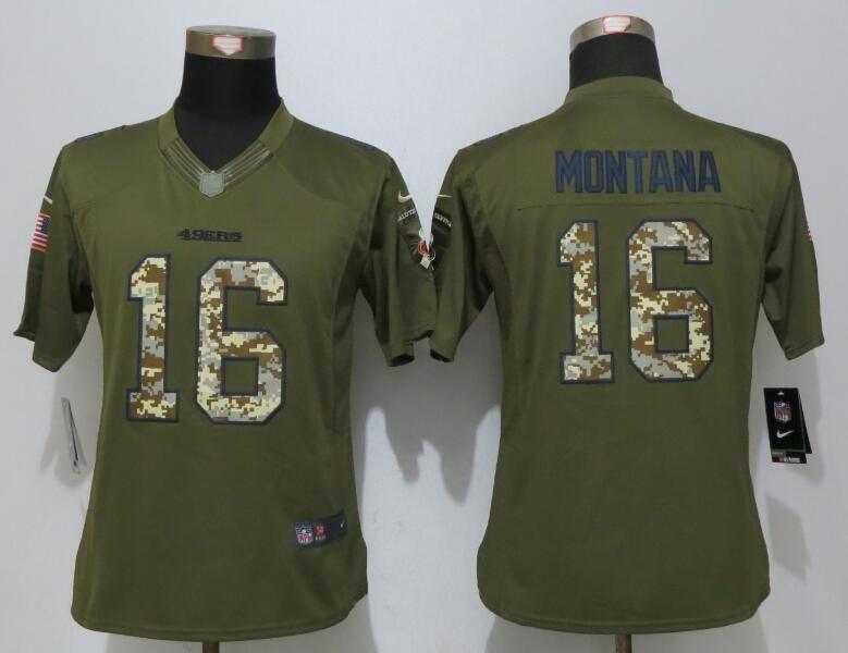 a492f2f5635 ... joe montana limited red gold fadeaway nfl new zealand women nike san  francisco 49ers 16 montana green salute to service limited jersey 7f048 ...