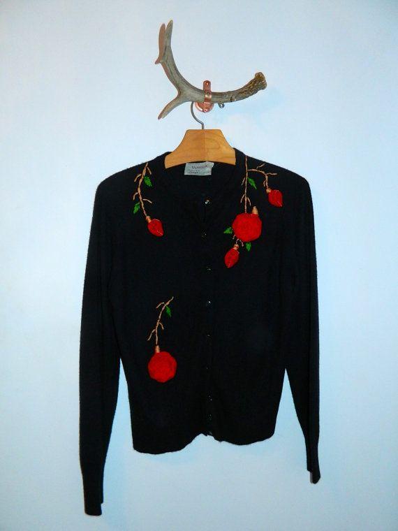 Vintage 1950s Cardigan Black Sweater Red Velvet Roses M L Vintage