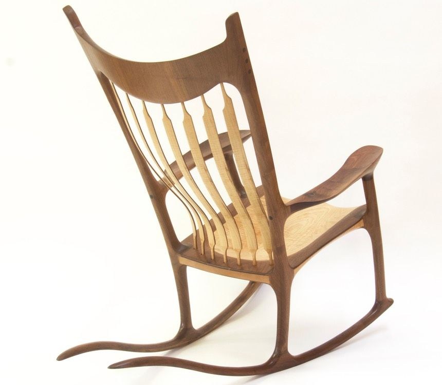 Sam Maloof style sculpted rocking chair - Walnut & Curly Maple