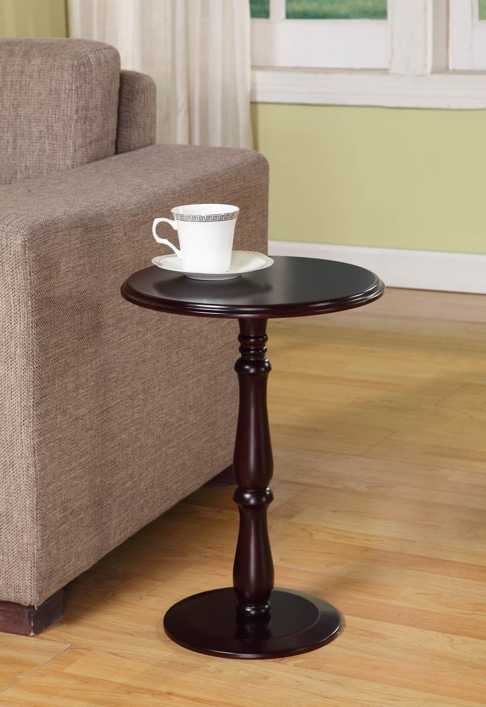 Small End Table Round Wood Accent Side Sofa Pedestal Modern Cherry