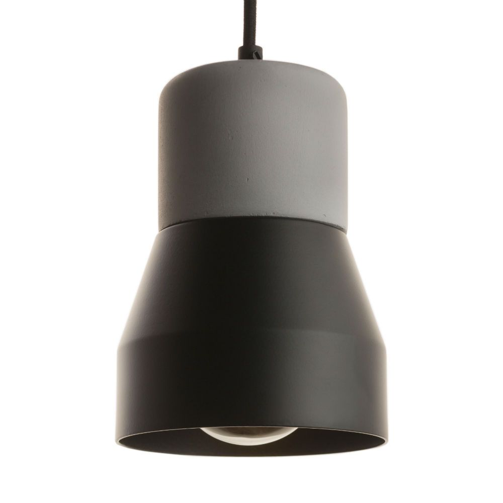 Suspension Noir Metal Suspension Béton Métal Noir Mat Ø13cm Steel Wood Steel Woods