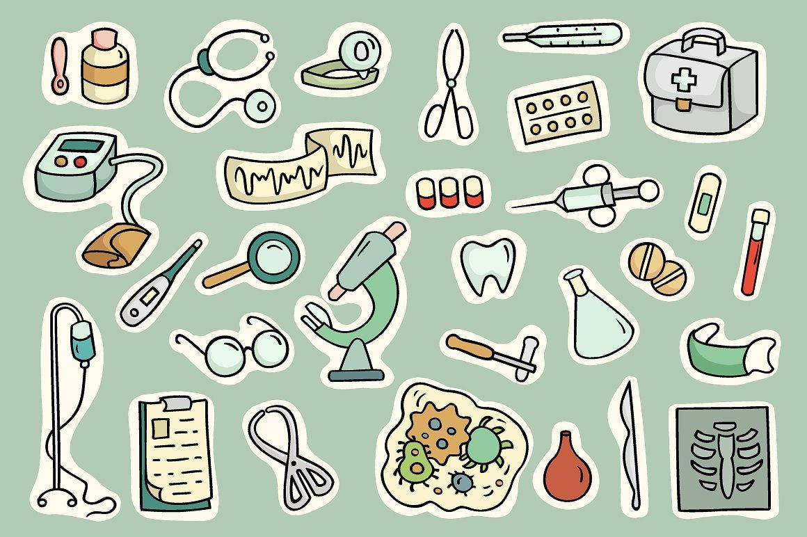 Cartoon doctor and medical equipment สติกเกอร์