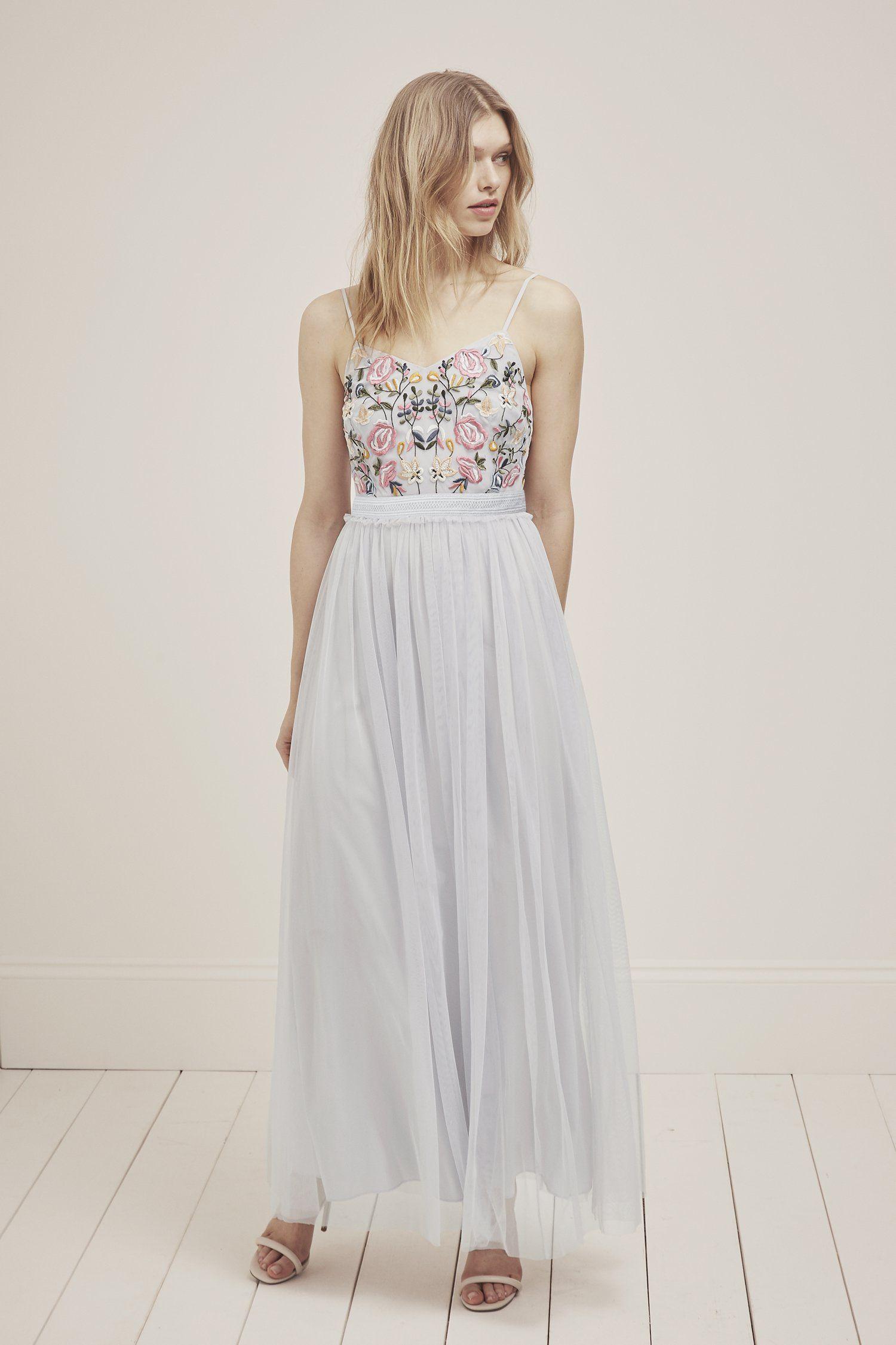 Embroidered maxi dress Fabric lightweight, lofty, layered