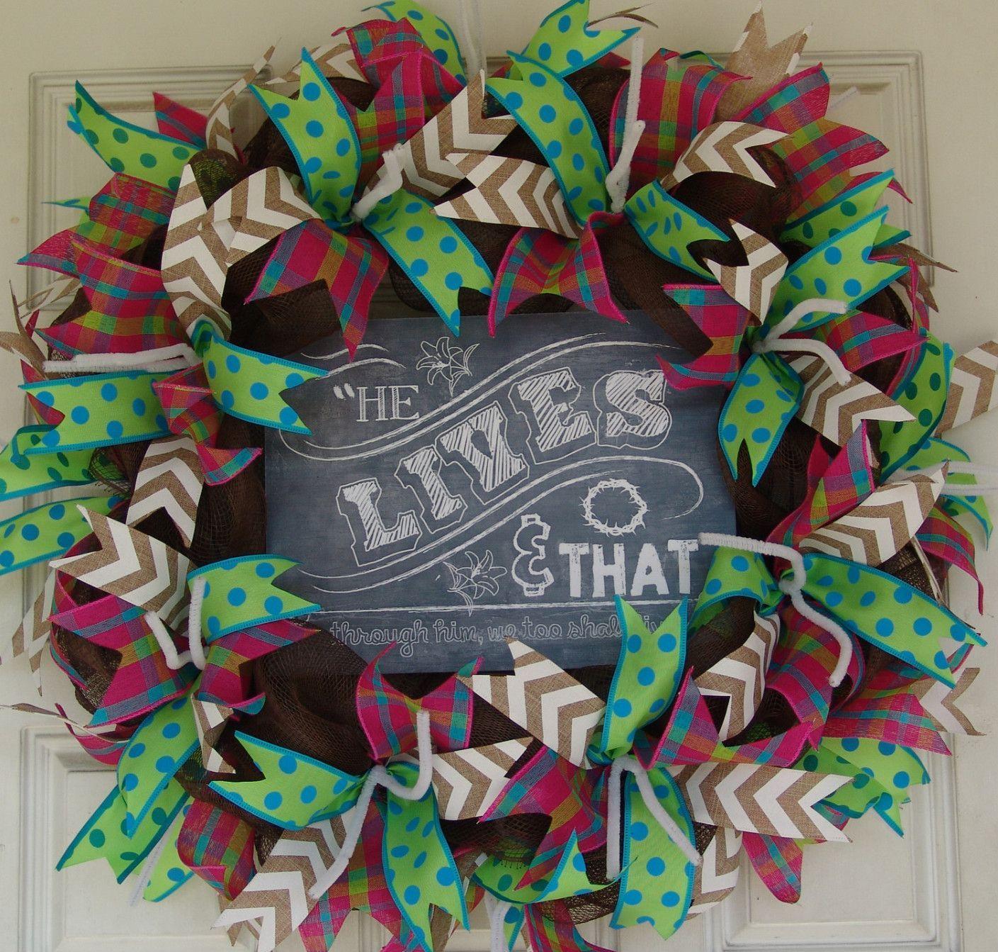 Religious Easter Deco Mesh Door Wreath 25 Carter Pinterest