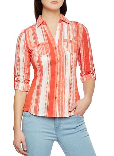 Striped Aztec Print Button Down Top with Ribbed Sides