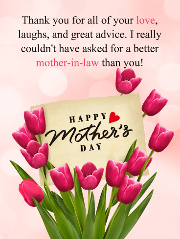Pink tulips happy mothers day card for mother in law mother in pink tulips happy mothers day card for mother in law mother in laws are known for their great advice as well as how loving they are and this day is all m4hsunfo