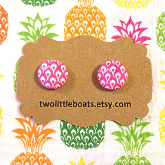 Pineapple Fabric Button Earrings by TwoLittleBoats on Etsy