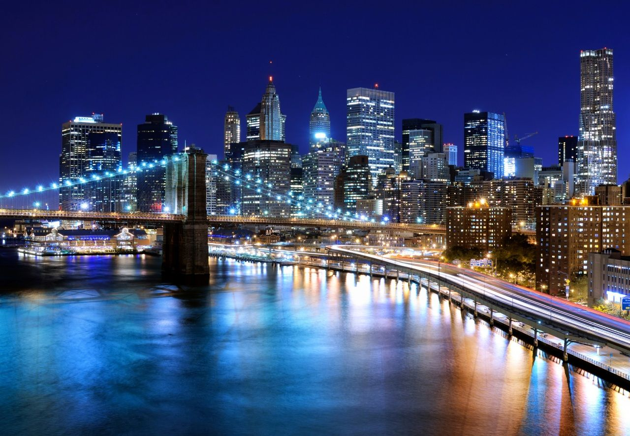 Usa Wolkenkratzer Flusse Brucken New York City Nacht