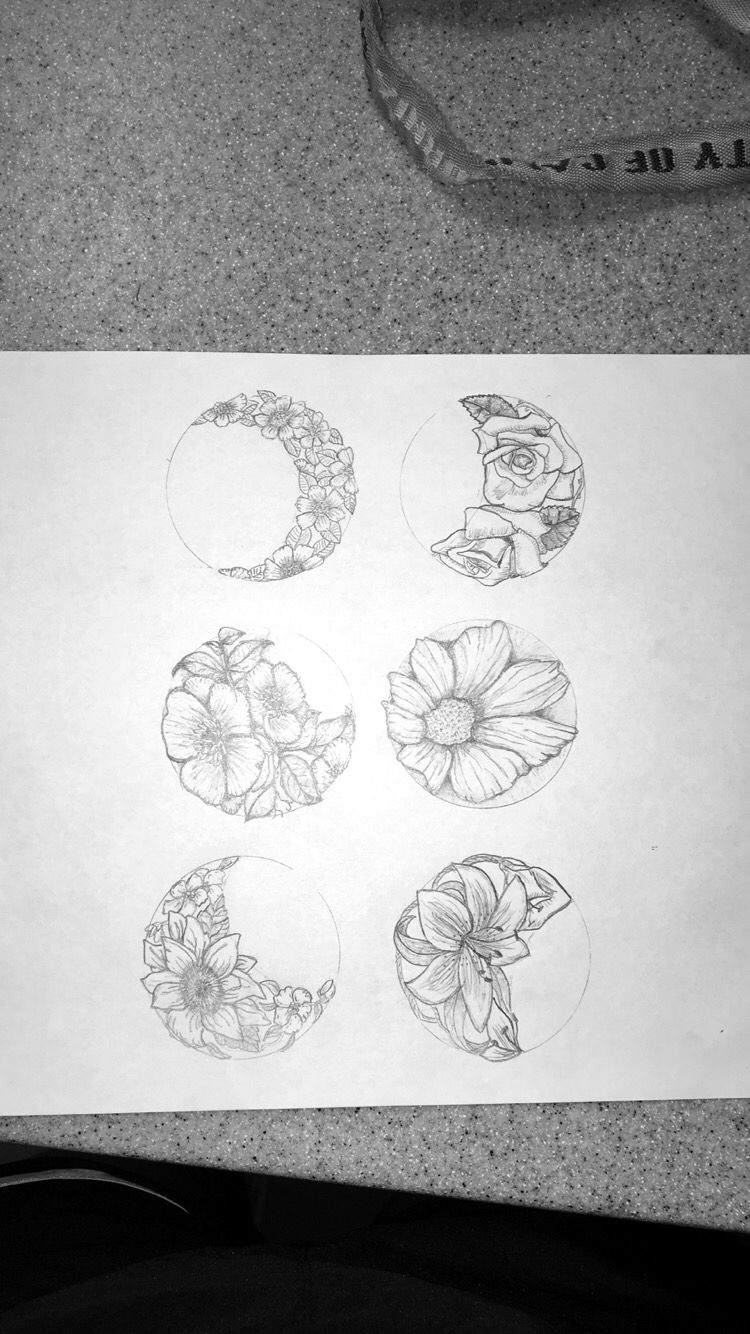 floral phases of the moon tattoo idea (original drawing