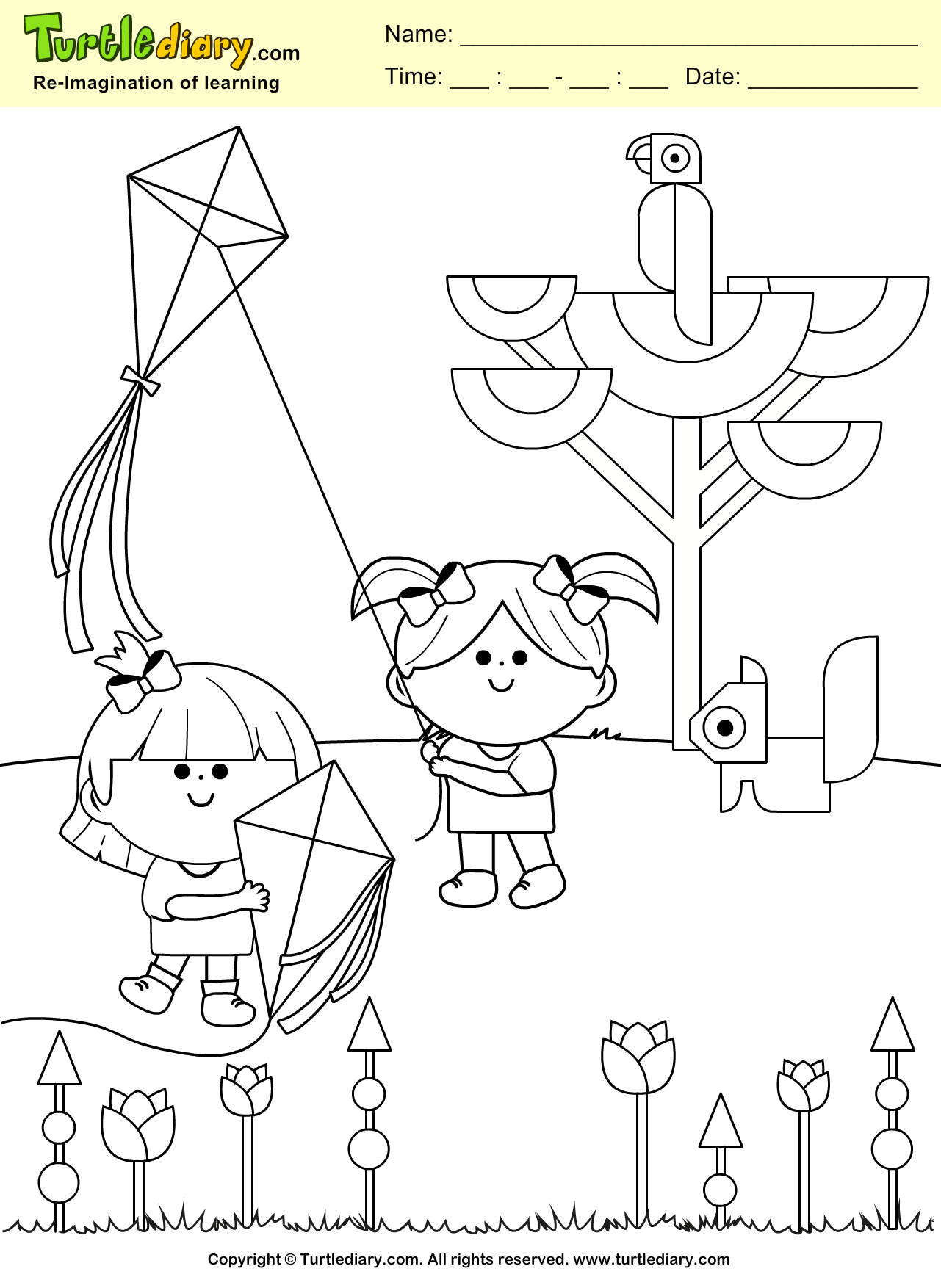 Kite Spring Coloring Page #Kids #Crafts #Coloring #TurtleDiary ...
