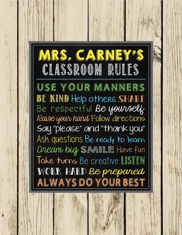 Classroom rules printable art wall art classroom decor