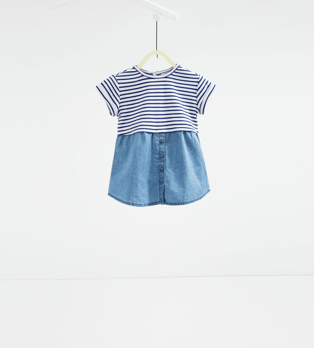 Contrast stripe and denim dress-DRESSES AND JUMPSUITS-BABY ...