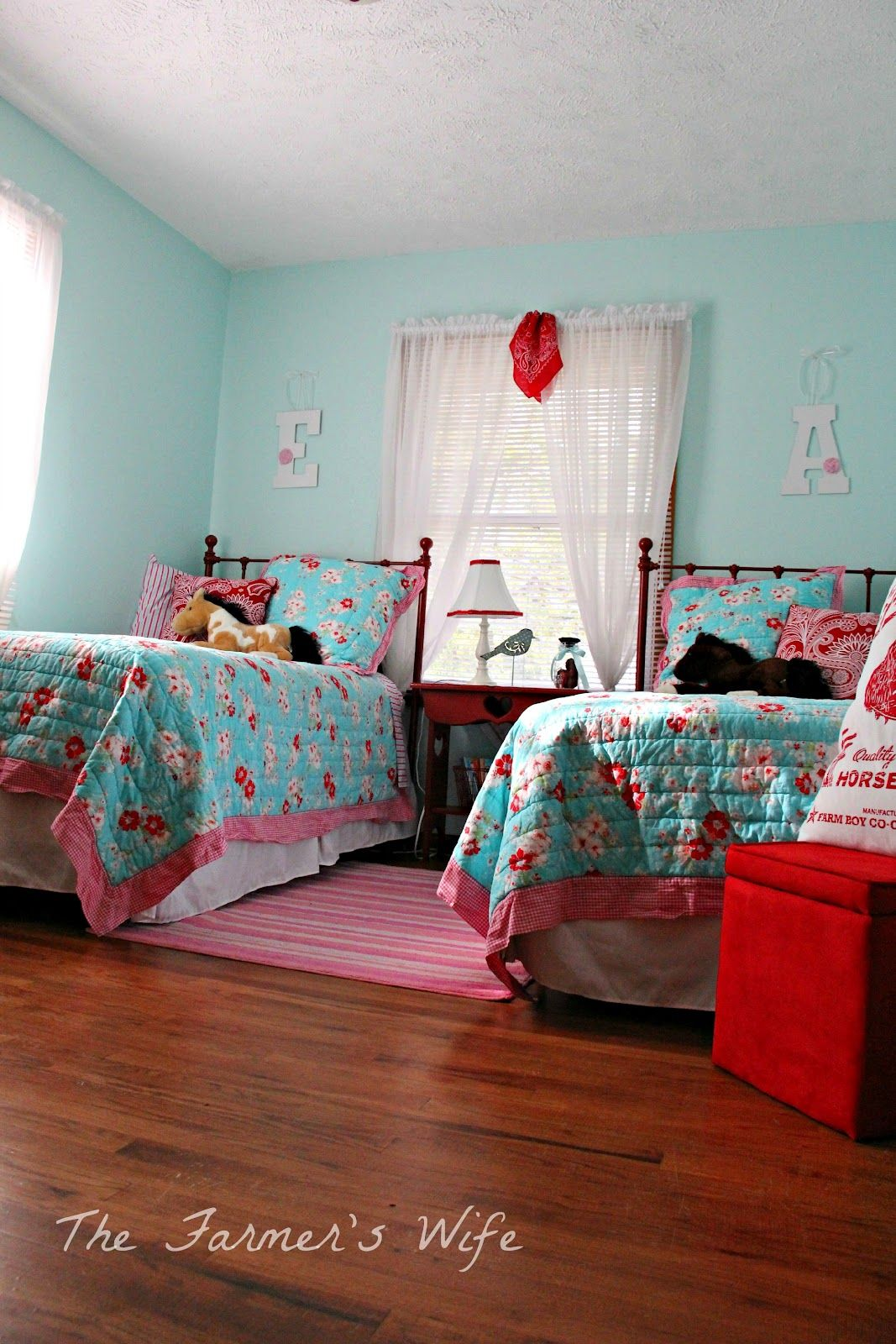 Country Cute Turquoise & Red Bedroom Makeover Bedroom