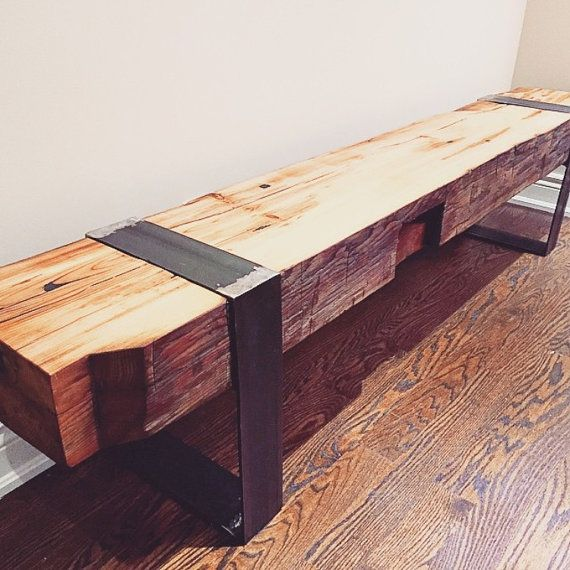 This Reclaimed Barn Beam Bench Is Made From A 150 Year Old 12 X 12 Barn Beam That Has Been Milled In Half Resulting Barn Beams Barn Wood Home Decorators Rugs