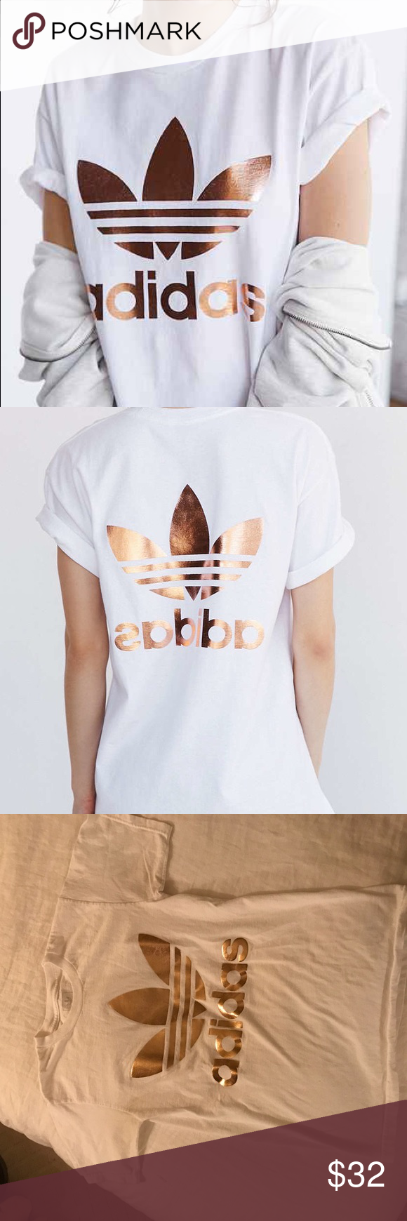 31c491f22c6 Rose Gold Adidas Trefoil T-shirt Adidas rose gold double sided t shirt,  size XS. worn a few times, so signs of wash and wear (including slight  fading of the ...