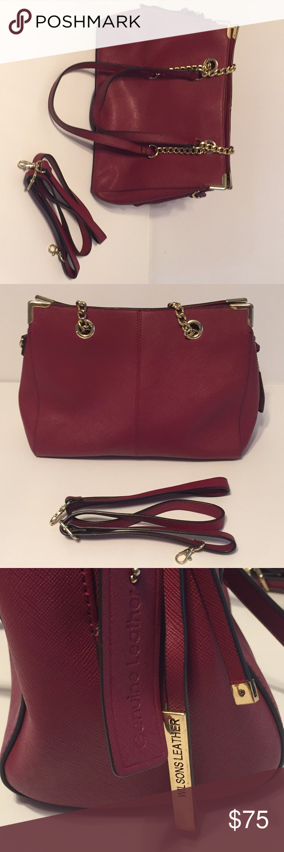Wlison Leather red purse with shoulder strap Red purses