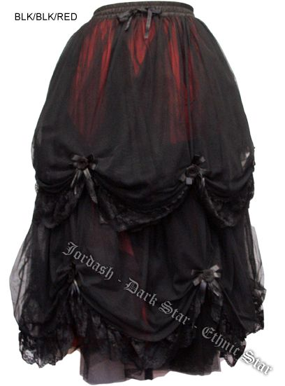 Dark Star Long Black Black and Red Satin Roses Gothic Fairytale Skirt [DS/SK/7203BBRed] - $112.99 : Mystic Crypt, the most unique, hard to find items at ghoulishly great prices!