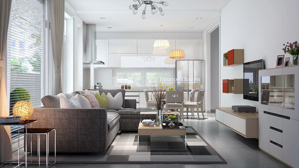 Best Tuananh Eke's White Open Plan Living Entertainment Area 400 x 300