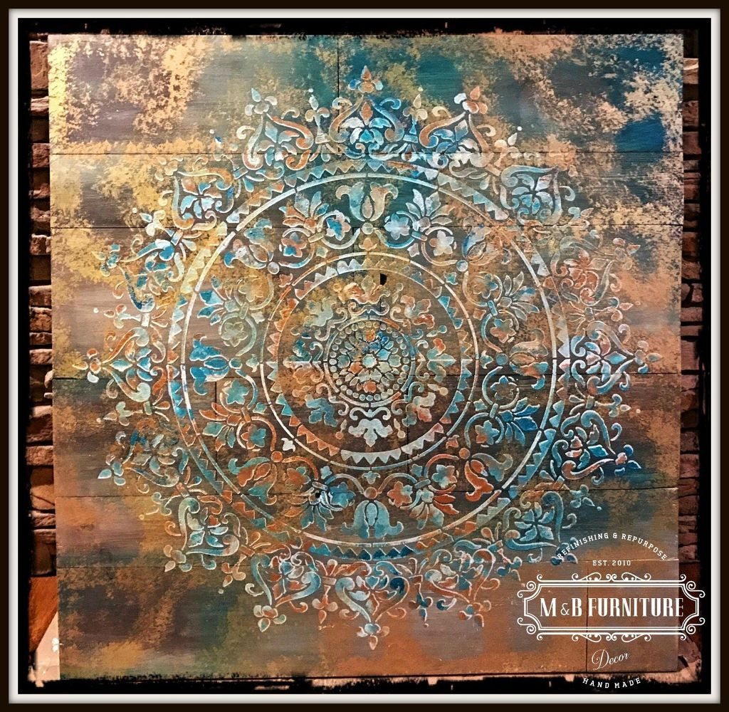 Learn how to stencil wooden wall art using the prosperity mandala learn how to stencil wooden wall art using the prosperity mandala stencil from cutting edge stencils amipublicfo Images
