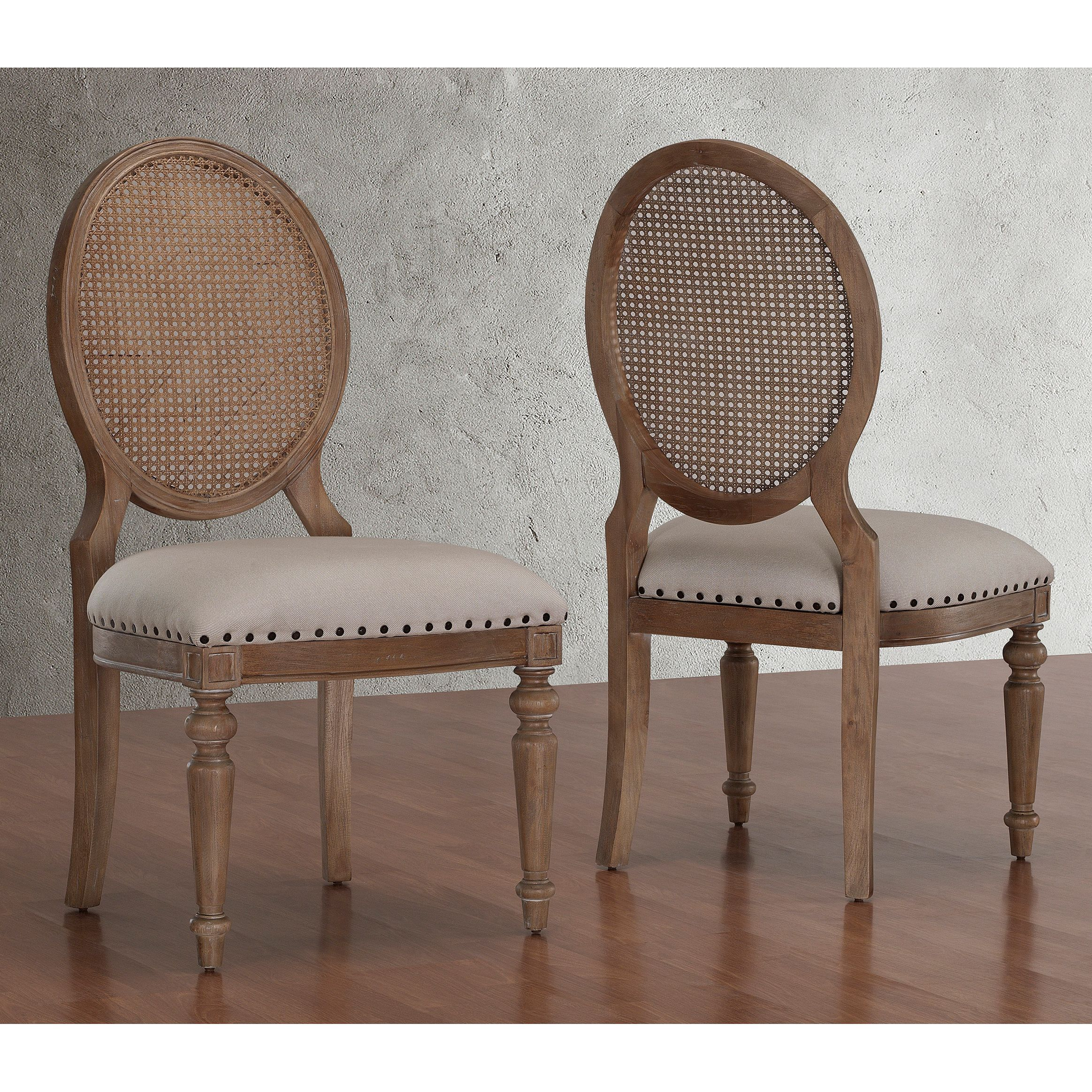 Elements weathered oak cane back dining chairs set of 2 for Dining room head chairs