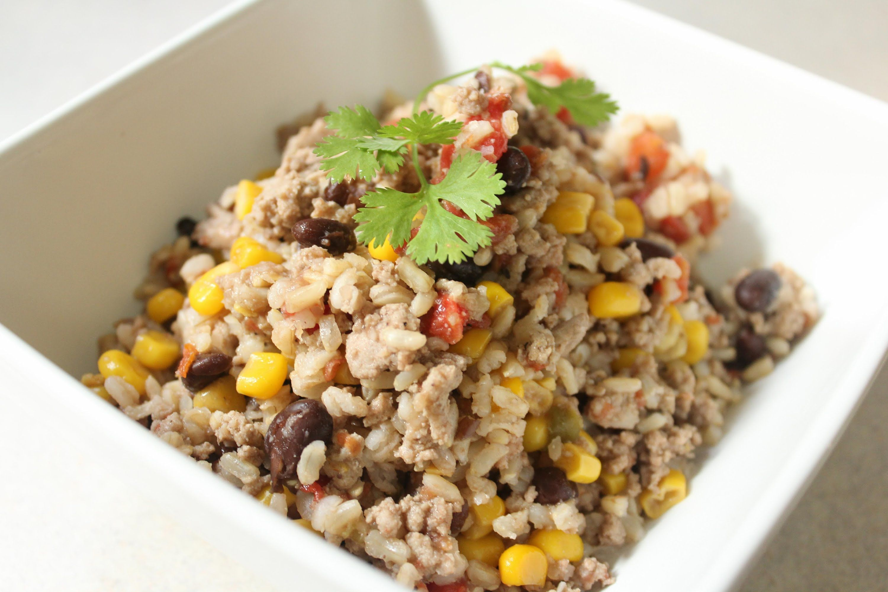 Hearty Beans & Rice (with ground turkey)