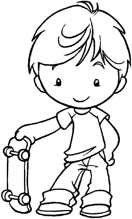 Nene Con Patineta Desenhos Para Colorir Colorir Desenhos Infantis