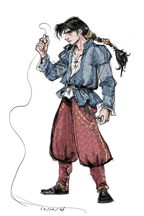 Jin Kim's concept art for Tangled's Flynn Rider with a slight Turkish influence  CORRECTION: Kim's inspiration was Romani